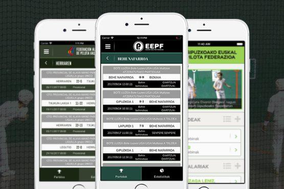 App oficiales de las Federaciones de Pelota Vasca