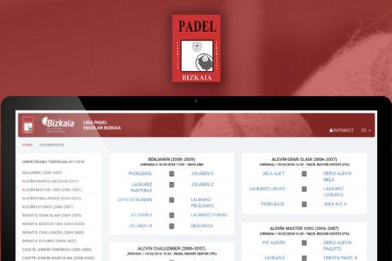 Plataforma de competiciones para la Federación Vizcaína de Pádel